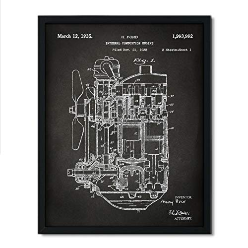 (Andaz Press Chalkboard Patent Print Wall Art Decor Poster, 8.5x11-inch, Planes, Trains, Automobiles, Internal Combustion Engine Poster, 1-Pack, Car Part Art, Tank Engine, Henry Ford)