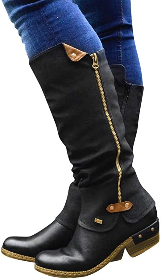Dainzuy Womens Knee High Riding Boots Ladies Fashion Winter Buckle Thick Flat Heels Leather Boots