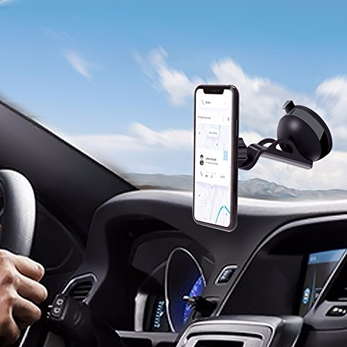 TeknoV Nulaxy Car Phone Holder Dashboard Windshield Car Mount Holder Magnetic Phone Mount for iPhone X 8/7/7Plus/6s/6Plus/5S Smartphone