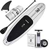 "TOWER Inflatable 9'10"" Stand Up Paddle Board - (6 Inches Thick) - Universal SUP Wide Stance - Premium SUP Bundle (Pump & Adjustable Paddle Included) - Non-Slip Deck - Youth and Adult - Adventurer 1"