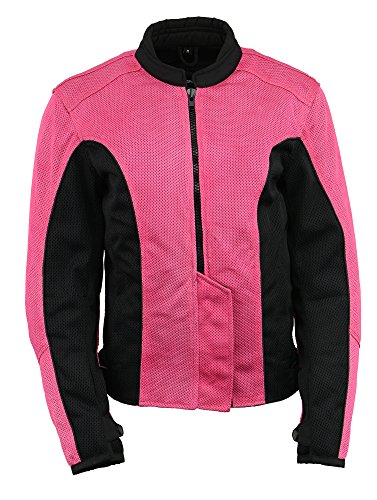 M Boss Apparel BOS22702 Ladies Black and Fuchsia Mesh Racer Jacket with Full Armor - 3X-Large