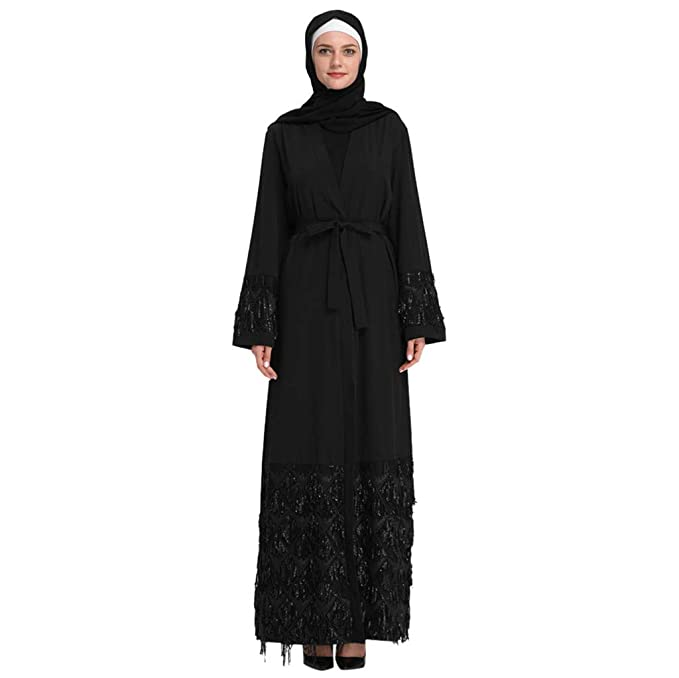1a8a632a56ec DKmagic Womens Kaftan Abaya Modest Maxi Dress,Sweet Floral Pattern Maxi Dress  Black