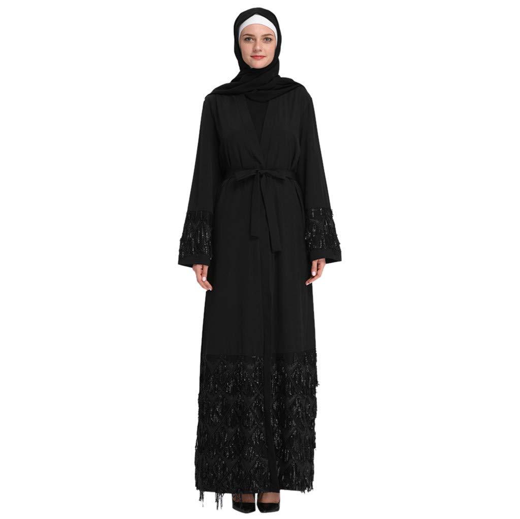 Kawaiine Women's Long Sleeve Cardigan Casual Loose Plus Size T-Shirt Dress Black
