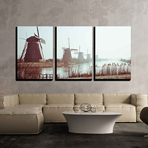 wall26 - 3 Piece Canvas Wall Art - Traditional Dutch Windmills in Winter at Kinderdijk, Netherlands - Modern Home Decor Stretched and Framed Ready to Hang - 24