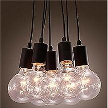 Lightess Pendant Lighting Vintage Barn Loft Cord Socket Lamp with 7 Lights Black