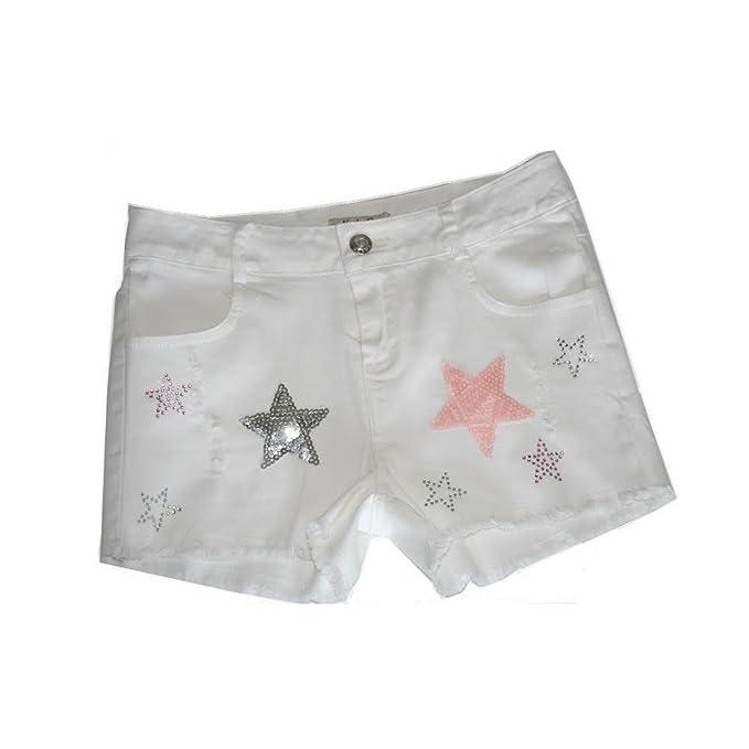 Fashion-Pantalón corto para niña, diseño de niños, color blanco, 4,