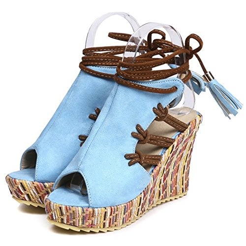 TAOFFEN Strappy Shoes Blue Sandals Wedges Women up Summer Lace rrxw1Uq0