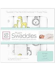 SwaddleDesigns Cotton Muslin Swaddle Blankets, Set of 4