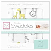 SwaddleDesigns Cotton Muslin Swaddle Blankets, Set of 4, Sterling Jungle Friends