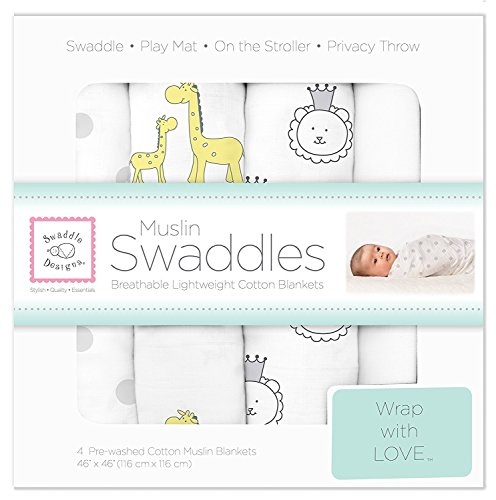 (SwaddleDesigns Cotton Muslin Swaddle Blankets, Set of 4, Sterling Jungle Friends)