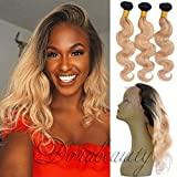 DoraBeauty Honey Blonde 2 Bundles with 360 Lace Frontal Pre Plucked Dark Roots #1B/27 Body Wave 12″Frontal+14″16″Bundles 360 Lace Frontal Wig 22.542