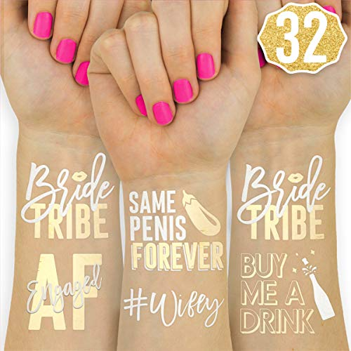 xo, Fetti 32 Bride Tribe Metallic Tattoos | Bachelorette Party Decorations, Bridesmaid Favor + Bride to Be