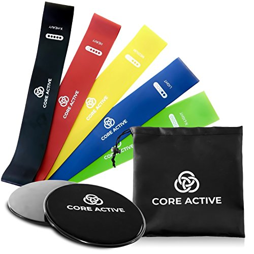 Raiden Arsenal Resistance Bands and Exercise Sliders w/eBook – Premium Core Active 7 inch Gliding Discs – 12 inch Booty Bands 5 levels of resistance – Home Workout Equipment for 80 Day Obsession