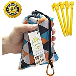 """Foldable Beach Blanket (71"""" x 55"""") -Compact, Lightweight, Waterproof, Sand Proof Pocket Blanket Best for the Beach, Hiking, Travel, Camping, with Pockets, Loops, Stakes, Carabiner (Camouflage lattice)"""