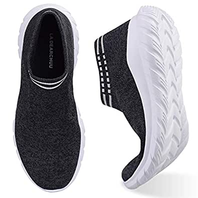 La Dearchuu Walking Shoes for Women Slip-On Fashion Sneaker for Women A Versatile Pair That Can Be Worn for Workout Running Go to Work and Walking It's Breathable Non-Slip Lightweight Black