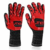 ATWRP FIREPROOF 932°F Extreme Heat Resistant BBQ Gloves by for Cooking Grilling Barbecue Charcoal Grill Smoker Tools Hot Ovens with Fingers Double Layered