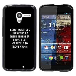 TECHCASE**Cubierta de la caja de protección la piel dura para el ** Motorola Moto X 1 1st GEN I XT1058 XT1053 XT1052 XT1056 XT1060 XT1055 ** Black Text Giving Up Depression Motivating