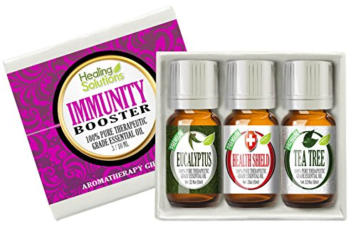 Immunity Booster Set 100% Pure, Best Therapeutic Grade Essential Oil Kit - 3/10mL (Eucalyptus, Health Shield (Based on Four Thieves), and Tea Tree)