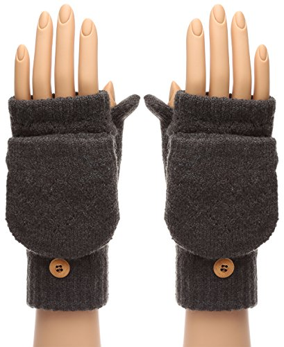 MIRMARU Women's Winter Knitted Fingerless Mitten Gloves with Flip Cover with Faux Fur Lining(602,Charcoal Grey)
