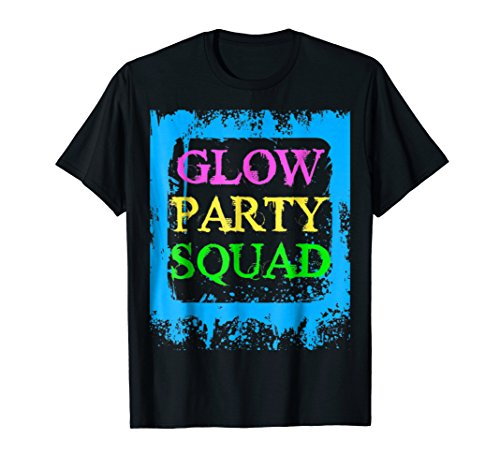 Glow Party Squad Paint Splatter Effect Neon Glow Party Shirt -