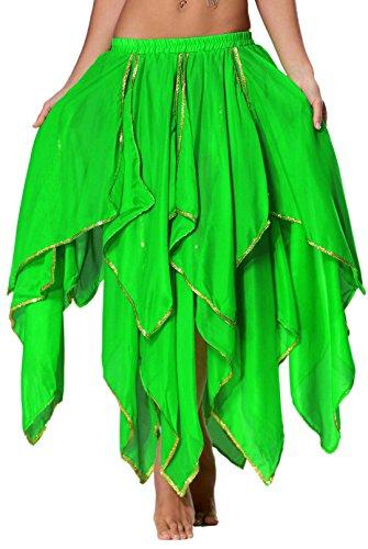 Seawhisper Chiffon Fairy Fancy Skirt Belly Dance Skirt for Women with Sequin Side Split (Cosplay Shop)