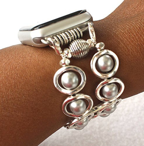 Watch Band for Apple Watch,Silver Ovals and Silver Glass Beads Watch Band for Apple Watch,Handmade,The WatchMe Collection