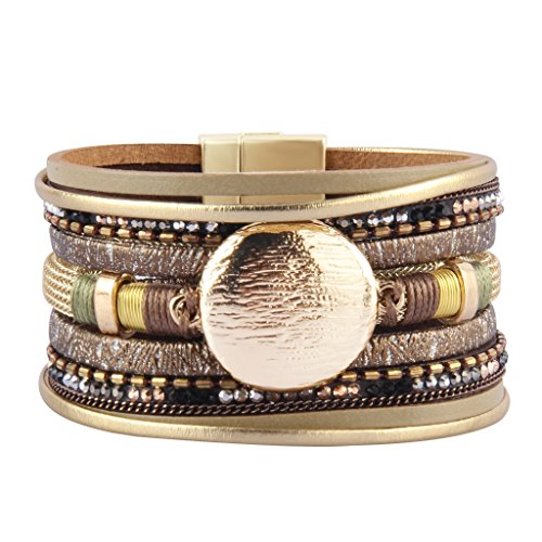 Wide Strand - Jenia Women's Leather Wrap Bracelet Boho Bracelets Wide Cuff Bangle with Round Alloy Part Handmade Woven Jewelry for Girls,Teens, Mother, Sister Birthday Gift