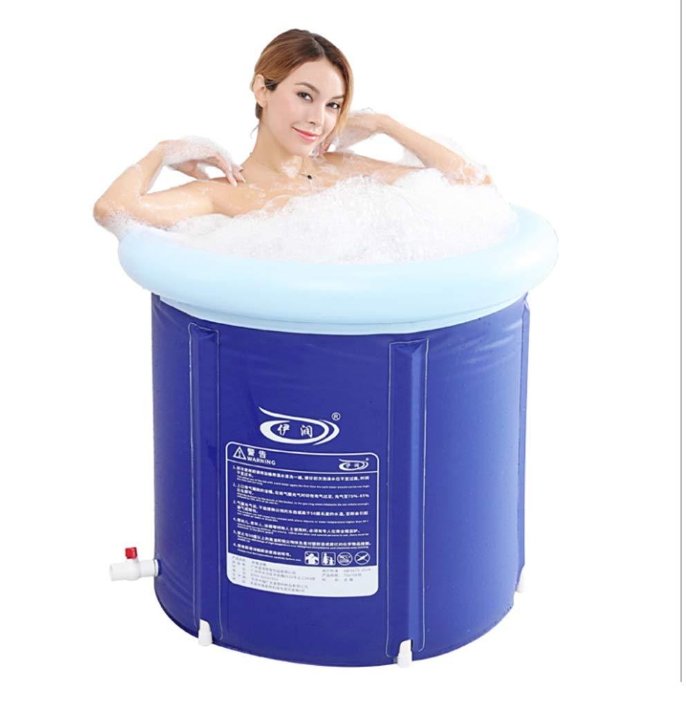 bluee 65x65cm MJMYDT LYX® Inflatable Bathtub, Bath Barrel Adult Bathtub Inflatable Bathtub Household Thicken Bathtub Whole Body Fold Bathtub Plastic bluee (color   bluee, Size   70x70cm)