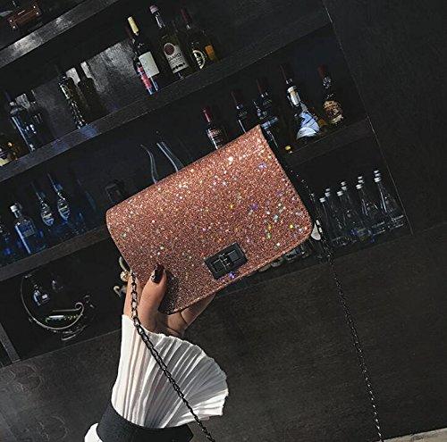 femme à à paillettes en sac marron toile Sunshier avec en pour Sac cuir bandoulière Sac wnpvqapxO