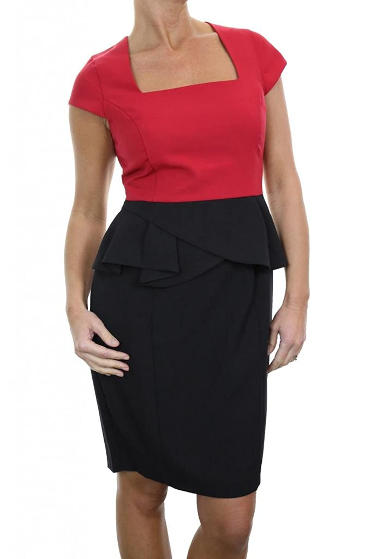 (3982-1) Smart Square Neck Peplum Pencil Dress Red and Black