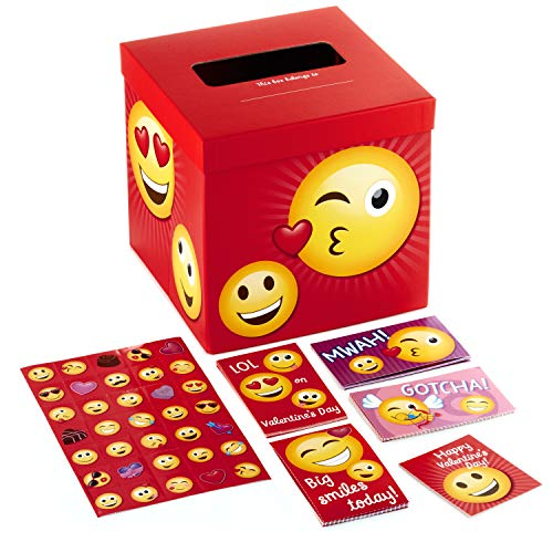 Hallmark Valentines Cards - Hallmark Valentines Day Cards for Kids and Mailbox for Classroom Exchange, Emoticons (1 Box, 32 Valentine Cards, 35 Stickers, 1 Teacher Card)