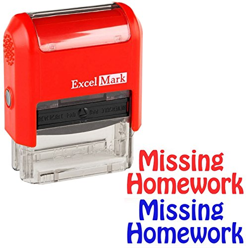 Missing Homework - ExcelMark Self-Inking Two-Color Rubber Teacher Stamp - Perfect for Grading Homework - Red and Blue - Stamp Missing