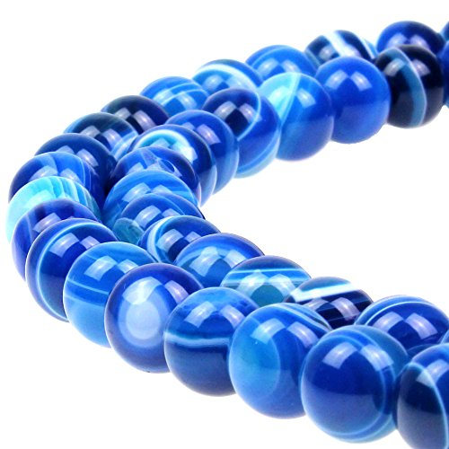 JARTC Natural Stone Beads Blue Striped Agate Round Loose Beads for Jewelry Making DIY Bracelet Necklace (10mm)