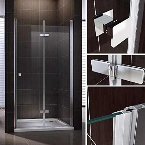 Puerta de ducha plegable de cristal de seguridad transparente 80 ...