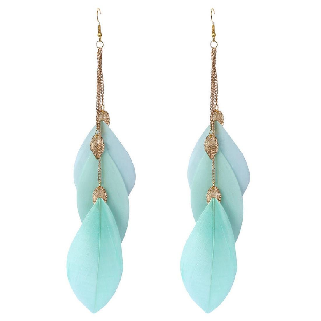 Coromose Bohemian Handmade Vintage Feather Long Drop Earrings (Mint Green)