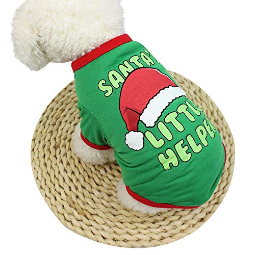 Christmas Dog T Shirt Pet Clothing Polyester Puppy Costume Dogs Tank Tops by Laimeng_World
