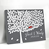 Grey Tree Guestbook Alternative Canvas Framed Leaves Guest Book Sign Red Birds on the Branch Personalized Gifts for Women Wedding Ideas