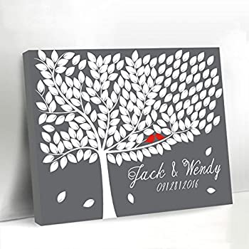 Amazon Com Grey Tree Guestbook Alternative Canvas Framed