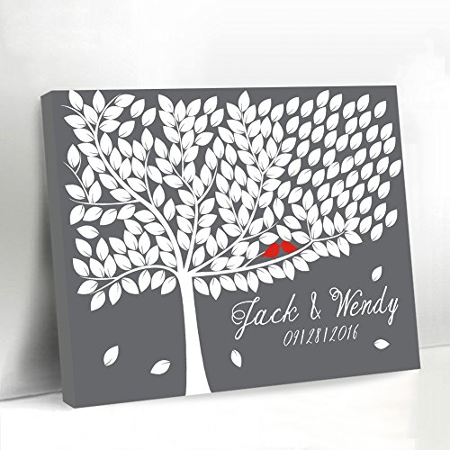 Grey Tree Guestbook Alternative Canvas Framed Leaves Guest Book Sign Red Birds on the Branch Personalized Gifts for Women Wedding - Tree Guest Book Wedding
