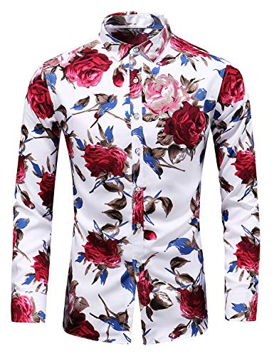 Men's Slim fit Printed Long-Sleeve Button-Down Dress Floral Shirt (XX-Large Chest: 52.8 inch, White red)