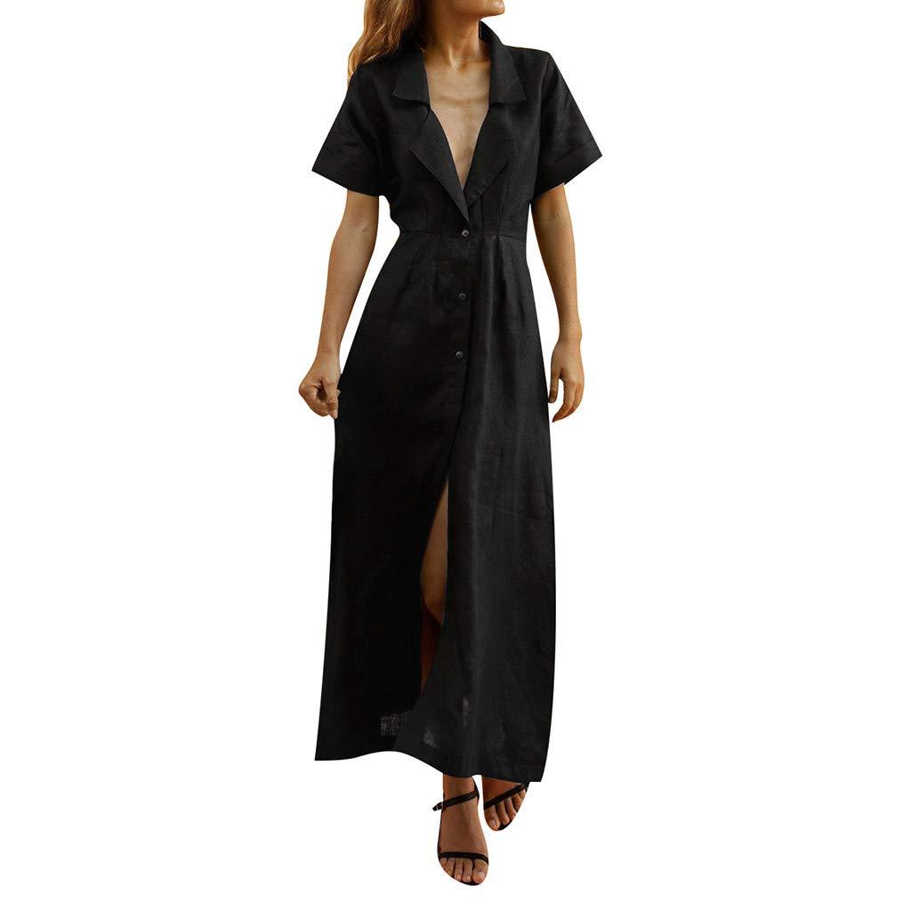 ☆HebeTop Women's Elegant Long Dress Deep V Neck Slit Evening Prom Maxi Dresses Black by HebeTop➟New Arrival