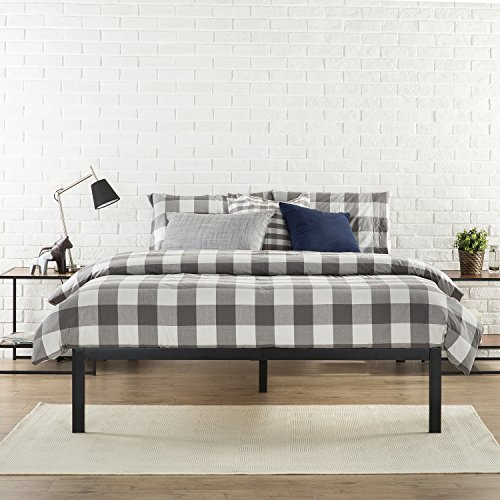 Zinus Modern Studio 14 Inch Platform 1500 Metal Bed Frame, Mattress Foundation, no Boxspring needed, Wooden Slat Support, Good Design Award Winner, Black, King