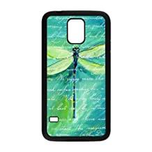 Generic Brightly Painting Art Green Dragonfly Protective Case for Samsung Galaxy S5