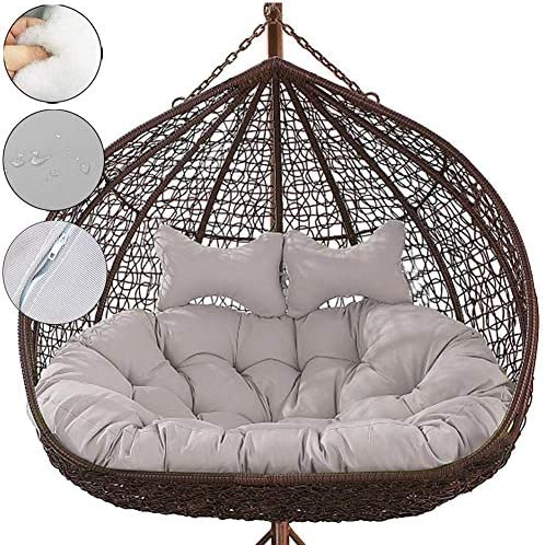 xuzomedia 2 Person Hanging Egg Chair Cushion,Double Swing Cushion with Pillow Thicken Egg Seat Cushion Indoor Outdoor Patio Hanging Egg Hammock Seat Cushion Hanging Basket Chair Cushions Gray