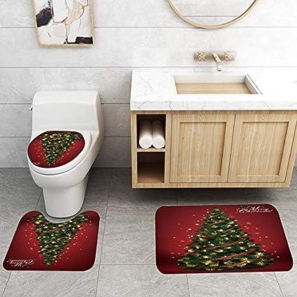 Crewell Frohe Weihnachten Duschvorhang//Rutschfester Teppich//Toilettendeckel//Badematte Weihnachtsbaummuster f/ür Weihnachtsdekoration
