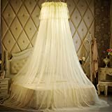 Lustar Court Style Mosquito Net Bed Canopy For Children Fly Insect Protection Indoor Decorative Height 270cm Top Diameter 50cm For 1.2-2m Bed,Yellow