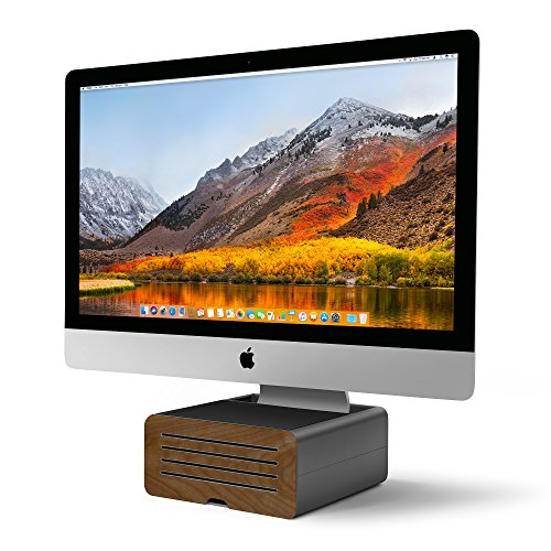 Twelve South HiRise Pro for iMac & other Displays | Height-adjustable stand  with storage, plus reversible front with leather inlay
