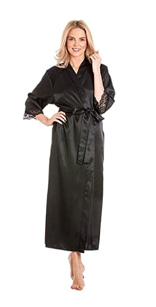 7d73e991cd0a Ladies Stunning Satin Long Dressing Gown imono Robe Wrap lace Details Plus  Size 10 12 14 16 18 20 22 24 UK  Amazon.co.uk  Clothing
