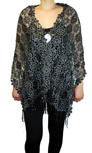 "Love My Seamless Mother Of Bride Fashion 19"" x 62"" Sequins Beaded Embroidered Lace Shawl Scarf With Brooch Cover up Evening Wrap Scarve (Black/Silver)"