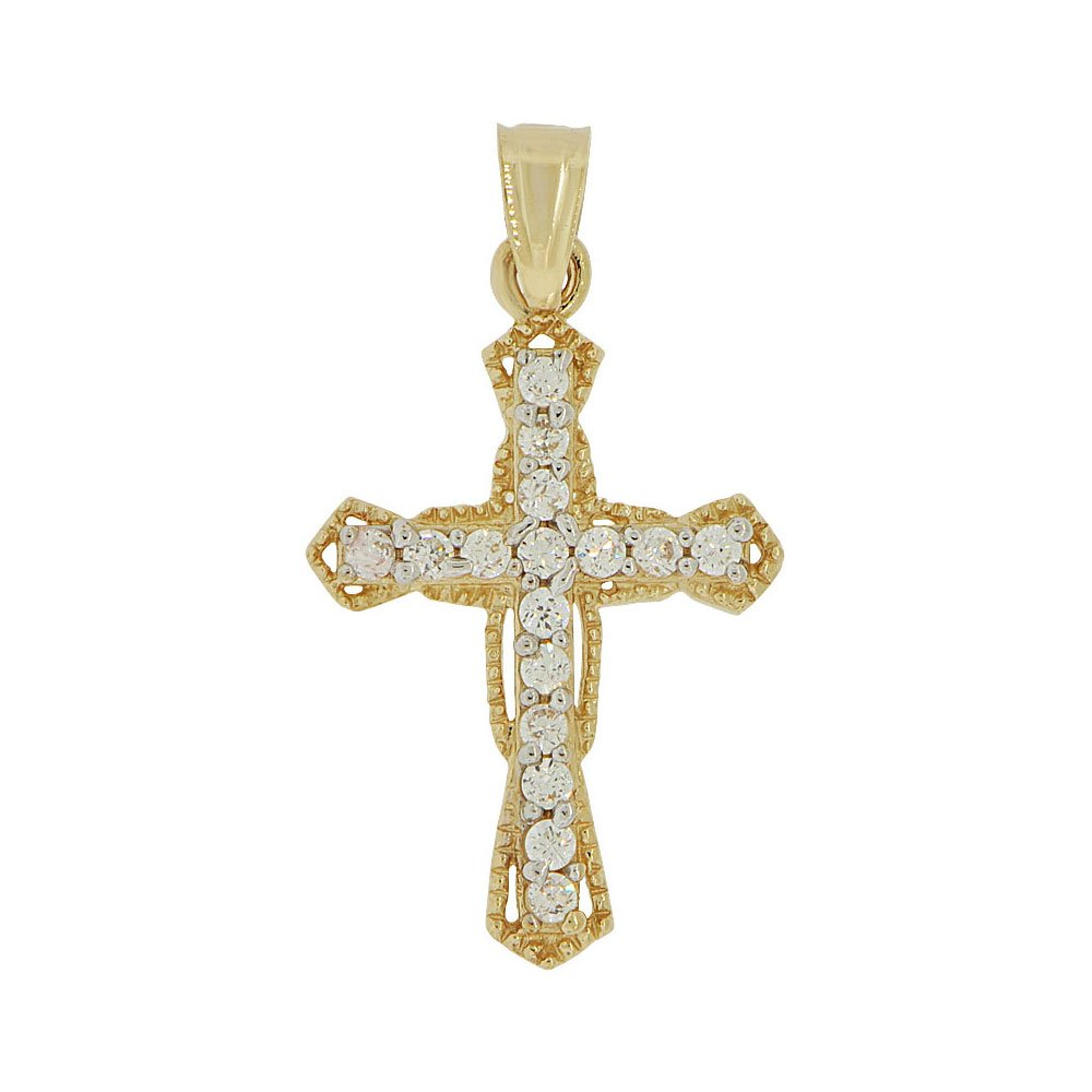 Small Cross Pendant Religious Charm Created CZ Crystals 14k Yellow Gold White Rhodium